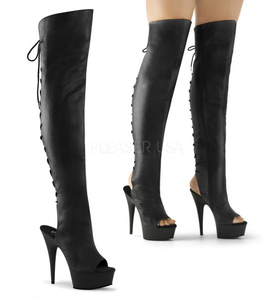 High Heel Overknee Plateau Stiefel Delight-3019 Kunstleder schwarz mit Schnürung hinten, offener Fersen- ubd Zehenbereich